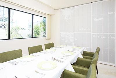 明石のフランス料理シトロニエの個室パーテンションのご案内
